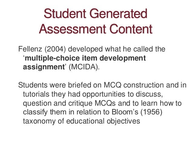 Multi-part assessments Rather than an end of semester assignment, could have a multi-part assignment where feedback feeds ...