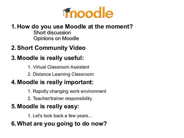 1.How do you use Moodle at the moment? Short discussionShort discussion Opinions on MoodleOpinions on Moodle 2.Short Commu...