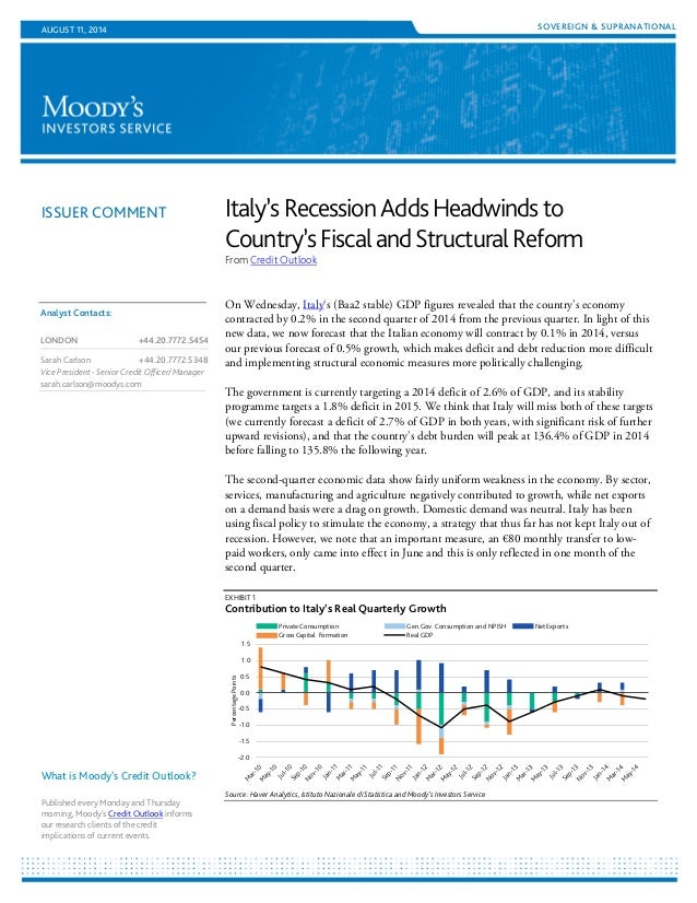 ISSUER COMMENT SOVEREIGN & SUPRANATIONALAUGUST 11, 2014 Italy'sRecessionAddsHeadwindsto Country'sFiscalandStructuralReform...