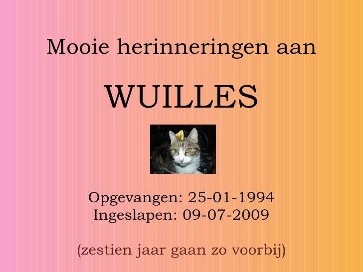 Mooie herinneringen aan       WUILLES     Opgevangen: 25-01-1994    Ingeslapen: 09-07-2009    (zestien jaar gaan zo voorbi...