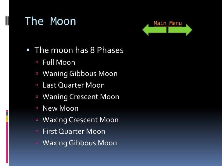 The Moon                   Main Menu     The moon has 8 Phases    Full Moon    Waning Gibbous Moon    Last Quarter Moo...