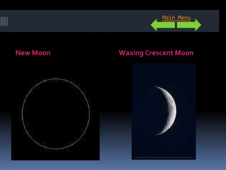 Main Menu     New Moon   Waxing Crescent Moon