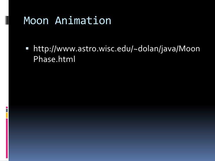 Moon Animation   http://www.astro.wisc.edu/~dolan/java/Moon   Phase.html