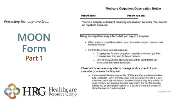 Medicare Outpatient Observation Notice (Moon) Update