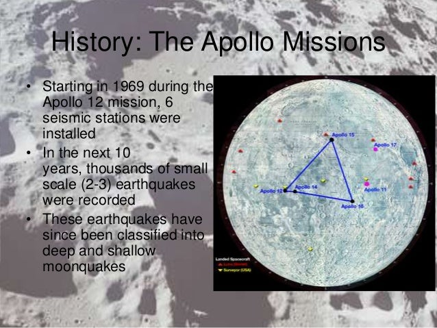 History: The Apollo Missions • Starting in 1969 during the Apollo 12 mission, 6 seismic stations were installed • In the n...