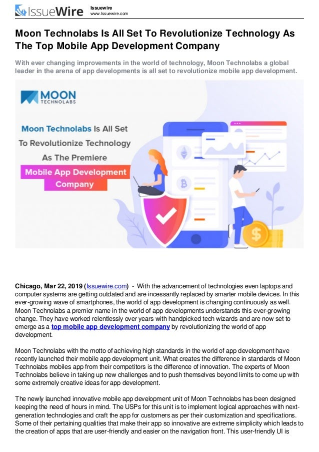 Issuewire www.Issuewire.com Moon Technolabs Is All Set To Revolutionize Technology As The Top Mobile App Development Compa...