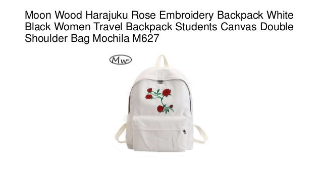 ad697db5a7 Moon Wood Harajuku Rose Embroidery Backpack White Black Women Travel Backpack  Students Canvas Double Shoulder Bag ...