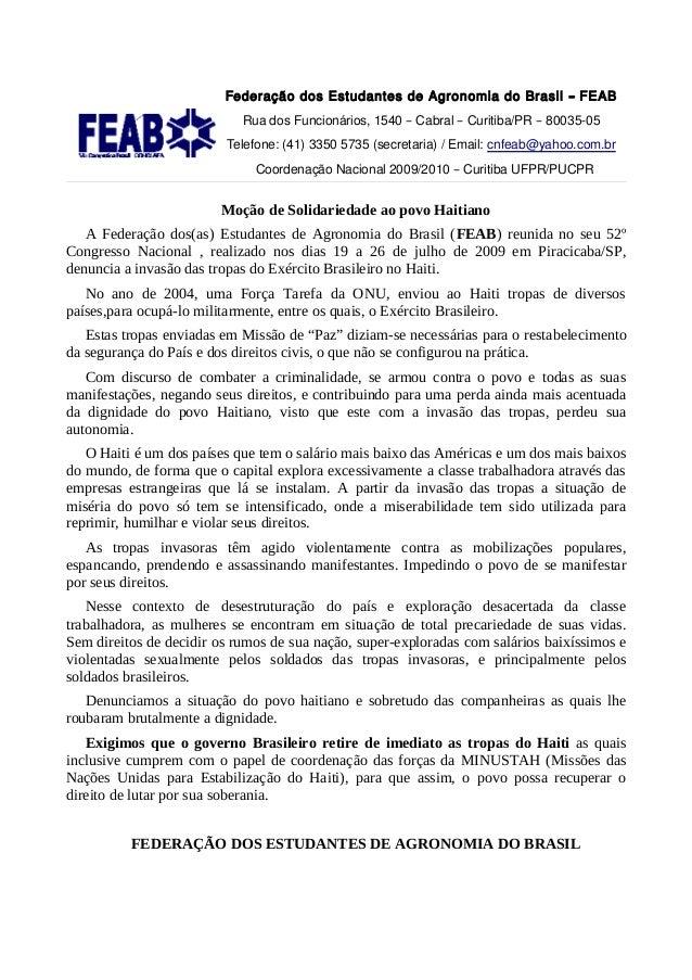 Federação dos Estudantes de Agronomia do Brasil – FEAB                            Rua dos Funcionários, 1540 – Cabral – Cu...