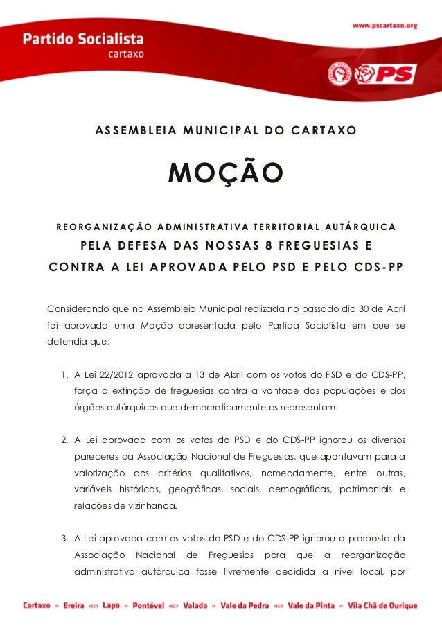 ASSEMBLEIA MUNICIPAL DO CARTAXO                           MOÇÃO REORGANIZAÇÃO ADMINISTRATIVA TERRITORIAL AUTÁRQUICA       ...
