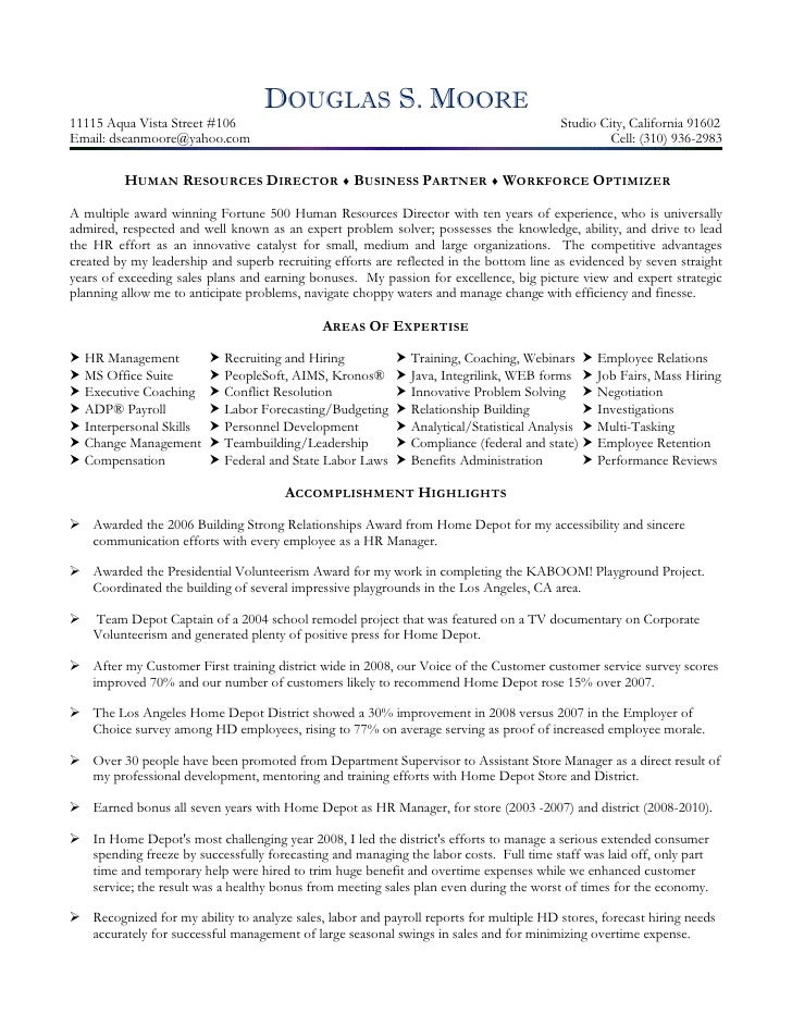 Director Of Human Resources Resume Resume Sample  Human