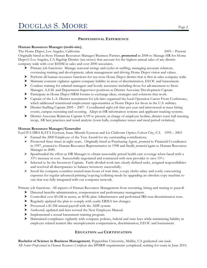 Moore Douglas Hr Director Resume
