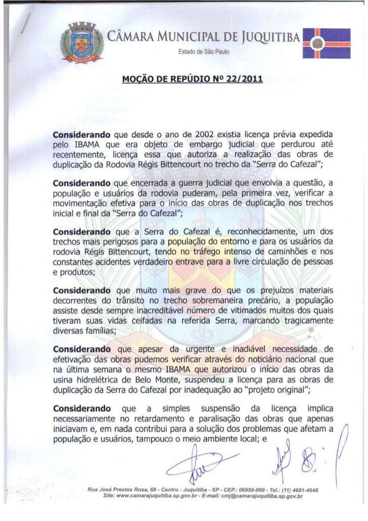 Moção Repúdio IBAMA - Serra do Cafezal
