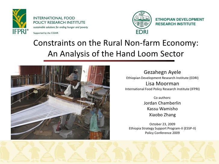 ETHIOPIAN DEVELOPMENT                                             RESEARCH INSTITUTE     Constraints on the Rural Non-farm...