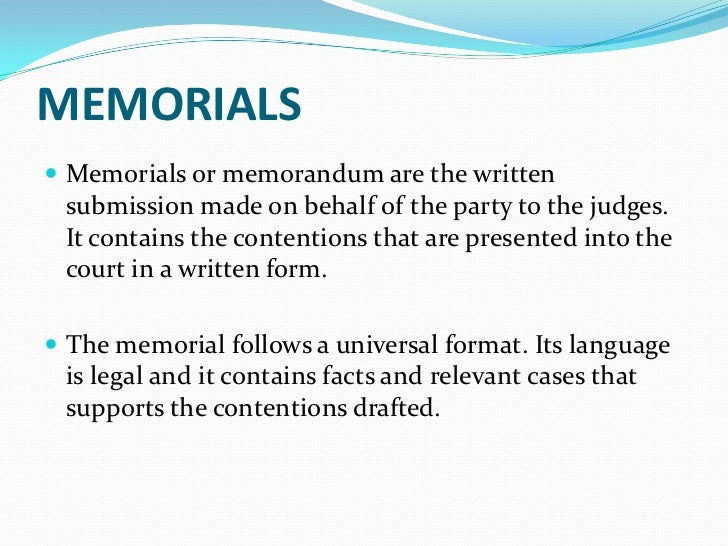 moot memorial Lb—602: moot court, mock trial and internship   the memorial should not exceed 20 typed pages (line space 15) and shall consist of the following parts.