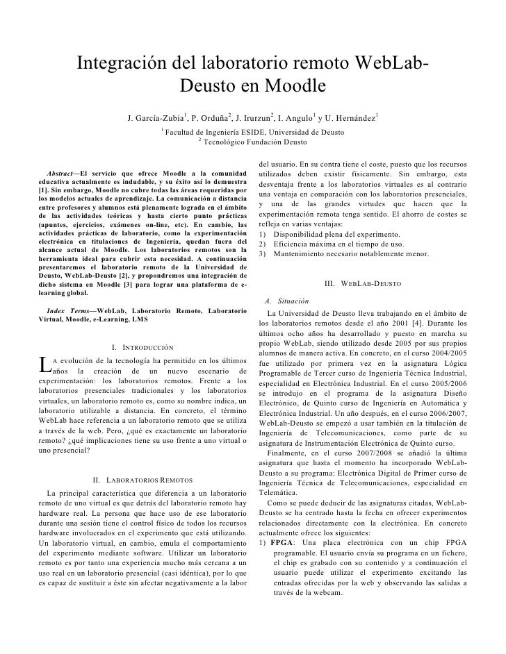 Integración del laboratorio remoto WebLab-                         Deusto en Moodle                            J. García-Z...