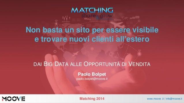 Matching2014  www.moove .it / info@moove.it  Non basta un sito per essere visibilee trovare nuovi clienti all'estero  DAIB...