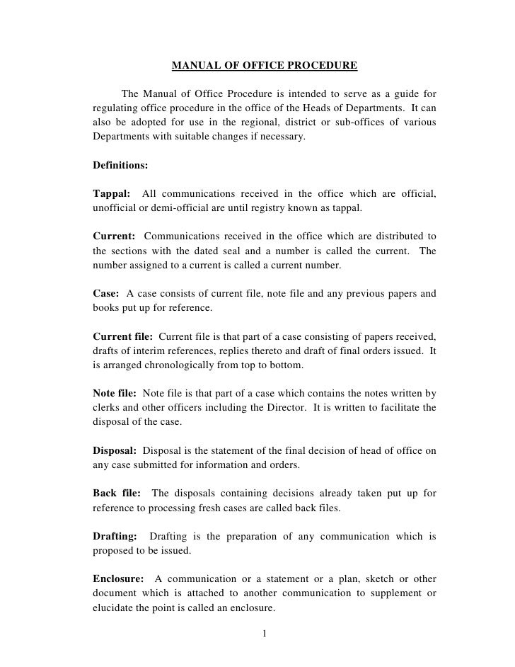 manuai of office procedures rh slideshare net office procedures manual law firm office procedures manual sample