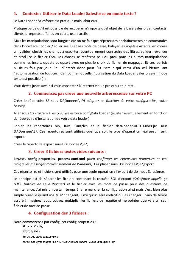 1. Contexte : Utiliser le Data Loader Salesforce en mode texte ? Le Data Loader Salesforce est pratique mais laborieux… Pr...