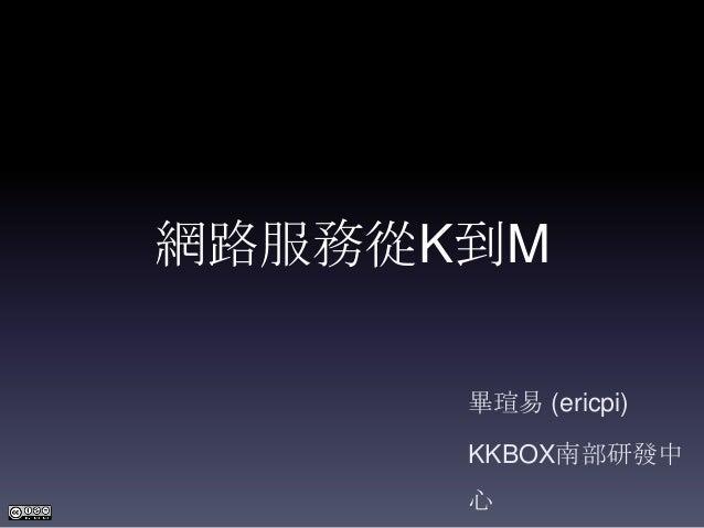 網路服務從K到M      畢瑄易 (ericpi)      KKBOX南部研發中      心