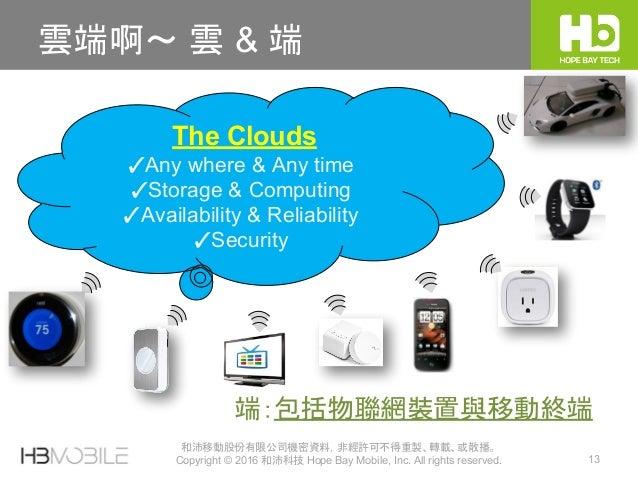 和沛移動股份有限公司機密資料,非經許可不得重製、轉載、或散播。 Copyright © 2016 和沛科技 Hope Bay Mobile, Inc. All rights reserved. 13 雲端啊~ 雲 & 端 The Clouds ...
