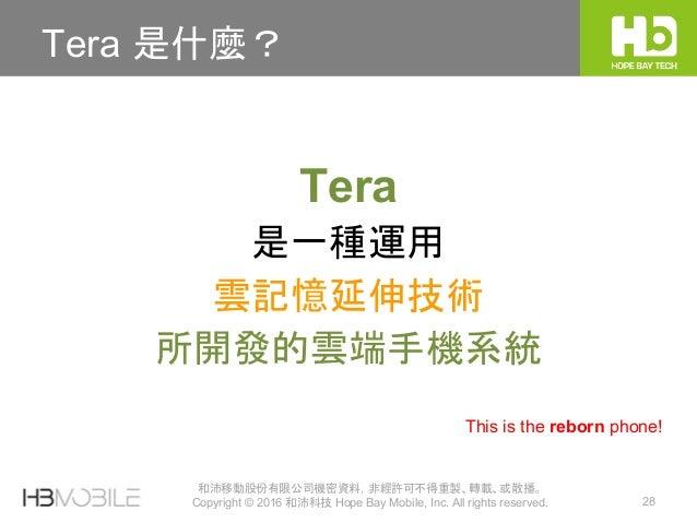 和沛移動股份有限公司機密資料,非經許可不得重製、轉載、或散播。 Copyright © 2016 和沛科技 Hope Bay Mobile, Inc. All rights reserved. 28 Tera 是什麼? Tera 是一種運用 雲...