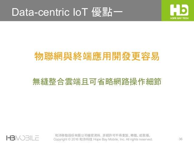 和沛移動股份有限公司機密資料,非經許可不得重製、轉載、或散播。 Copyright © 2016 和沛科技 Hope Bay Mobile, Inc. All rights reserved. 36 Data-centric IoT 優點一 無...