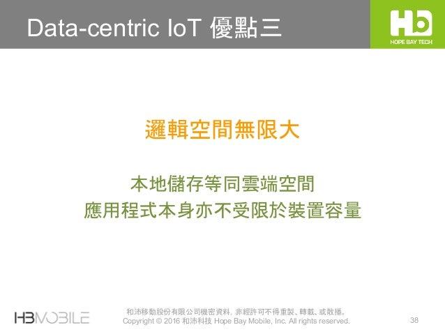 和沛移動股份有限公司機密資料,非經許可不得重製、轉載、或散播。 Copyright © 2016 和沛科技 Hope Bay Mobile, Inc. All rights reserved. 38 Data-centric IoT 優點三 本...