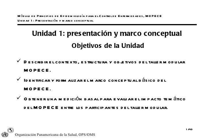 Módulo de Principios de Epidemiología para el Control de Enfermedades, MOPECE Unidad 1: Presentación y marco conceptual <u...