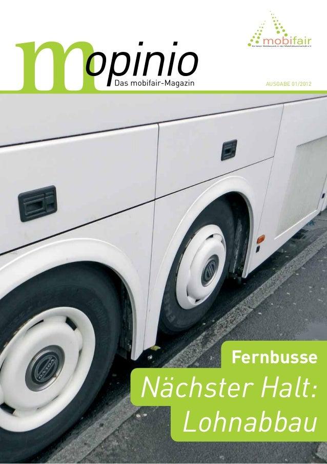 Ausgabe 01/2012       FernbusseNächster Halt:   Lohnabbau