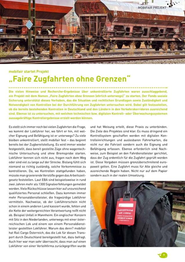9 mobifair Projekt Es stellt sich immer noch bei vielen Zugfahrten die Frage, wo kommt der Lokführer her, wo fährt er hin...