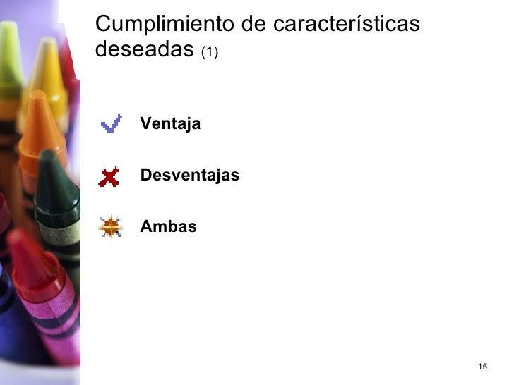Cumplimiento de características deseadas  (1) <ul><li>Ventaja </li></ul><ul><li>Desventajas </li></ul><ul><li>Ambas </li><...