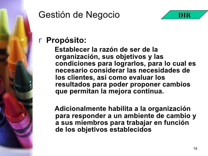Gestión de Negocio <ul><li>Propósito: </li></ul><ul><ul><li>Establecer la razón de ser de la organización, sus objetivos y...