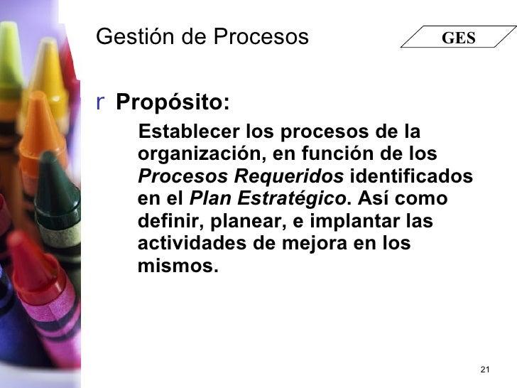 Gestión de Procesos <ul><li>Propósito: </li></ul><ul><ul><li>Establecer los procesos de la organización, en función de los...