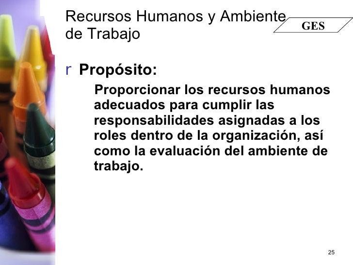 Recursos Humanos y Ambiente de Trabajo   <ul><li>Propósito: </li></ul><ul><ul><li>Proporcionar los recursos humanos adecua...