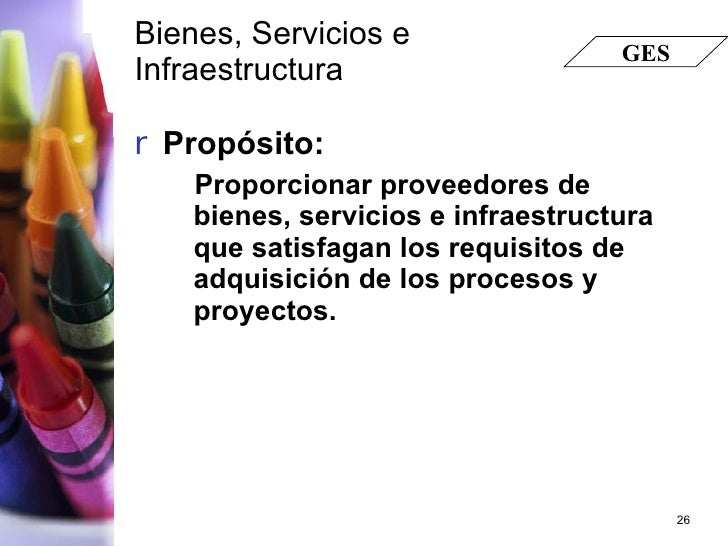 Bienes, Servicios e  Infraestructura   <ul><li>Propósito: </li></ul><ul><ul><li>Proporcionar proveedores de bienes, servic...