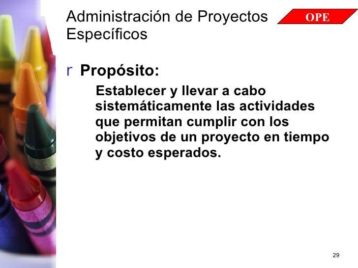 Administración de Proyectos Específicos   <ul><li>Propósito: </li></ul><ul><ul><li>Establecer y llevar a cabo sistemáticam...