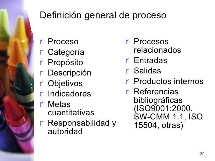 Definición general de proceso <ul><li>Proceso  </li></ul><ul><li>Categoría  </li></ul><ul><li>Propósito </li></ul><ul><li>...