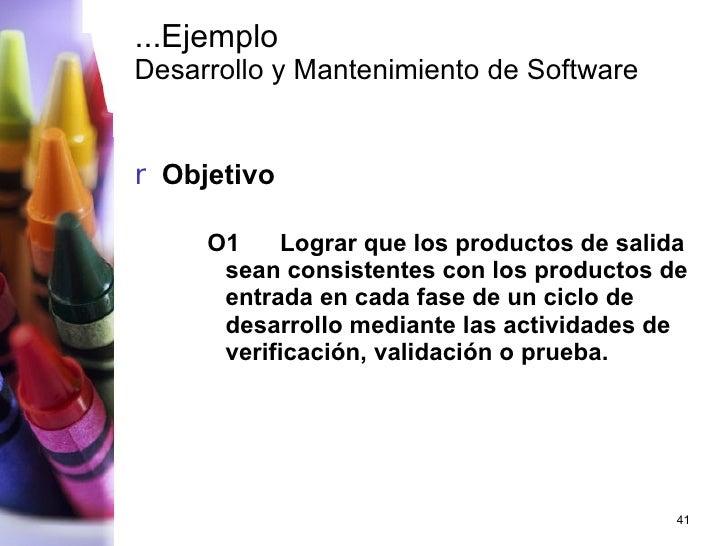...Ejemplo  Desarrollo y Mantenimiento de Software <ul><li>Objetivo </li></ul><ul><ul><ul><li>O1 Lograr que los productos ...