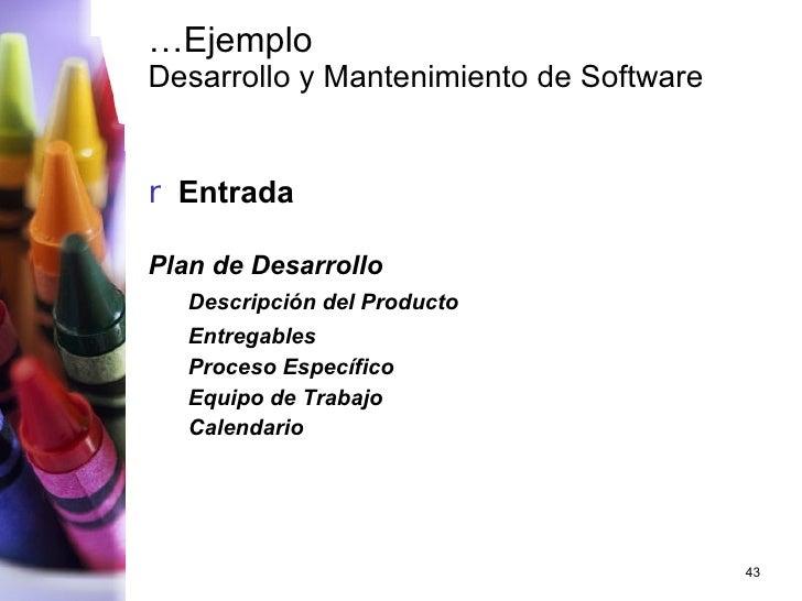 … Ejemplo Desarrollo y Mantenimiento de Software <ul><li>Entrada </li></ul><ul><li>Plan de Desarrollo </li></ul><ul><ul><l...