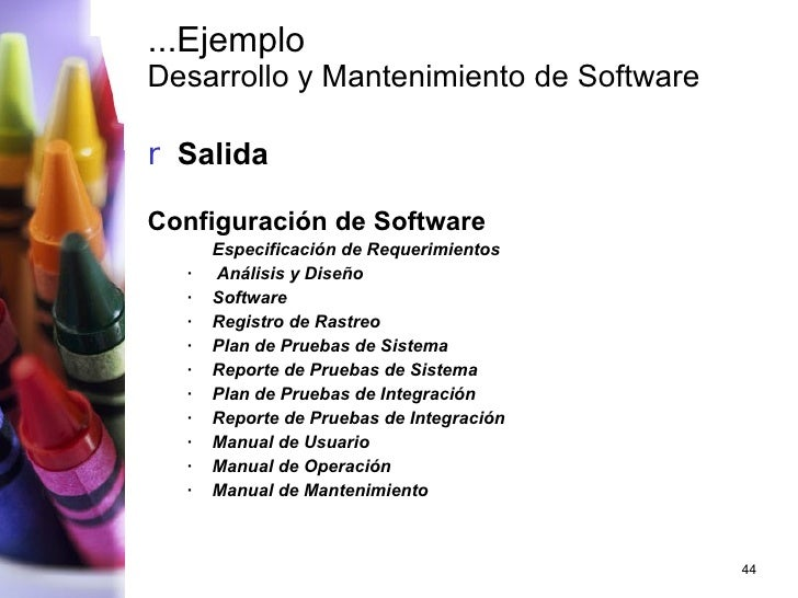 ...Ejemplo Desarrollo y Mantenimiento de Software <ul><li>Salida </li></ul><ul><li> Configuración de Software  </li></ul...