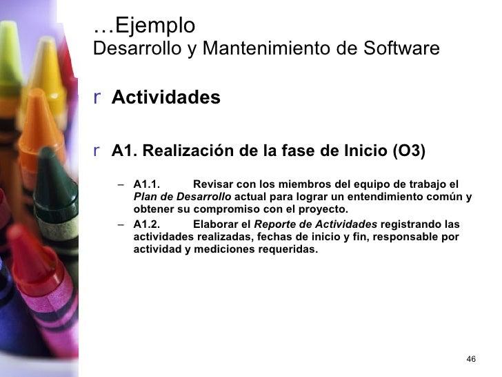… Ejemplo Desarrollo y Mantenimiento de Software <ul><li>Actividades </li></ul><ul><li>A1. Realización de la fase de Inici...