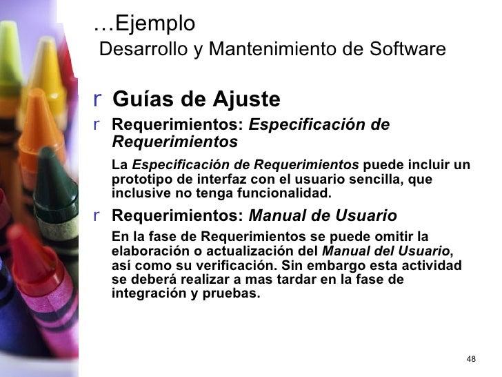 … Ejemplo   Desarrollo y Mantenimiento de Software <ul><li>Guías de Ajuste </li></ul><ul><li>Requerimientos:  Especificaci...