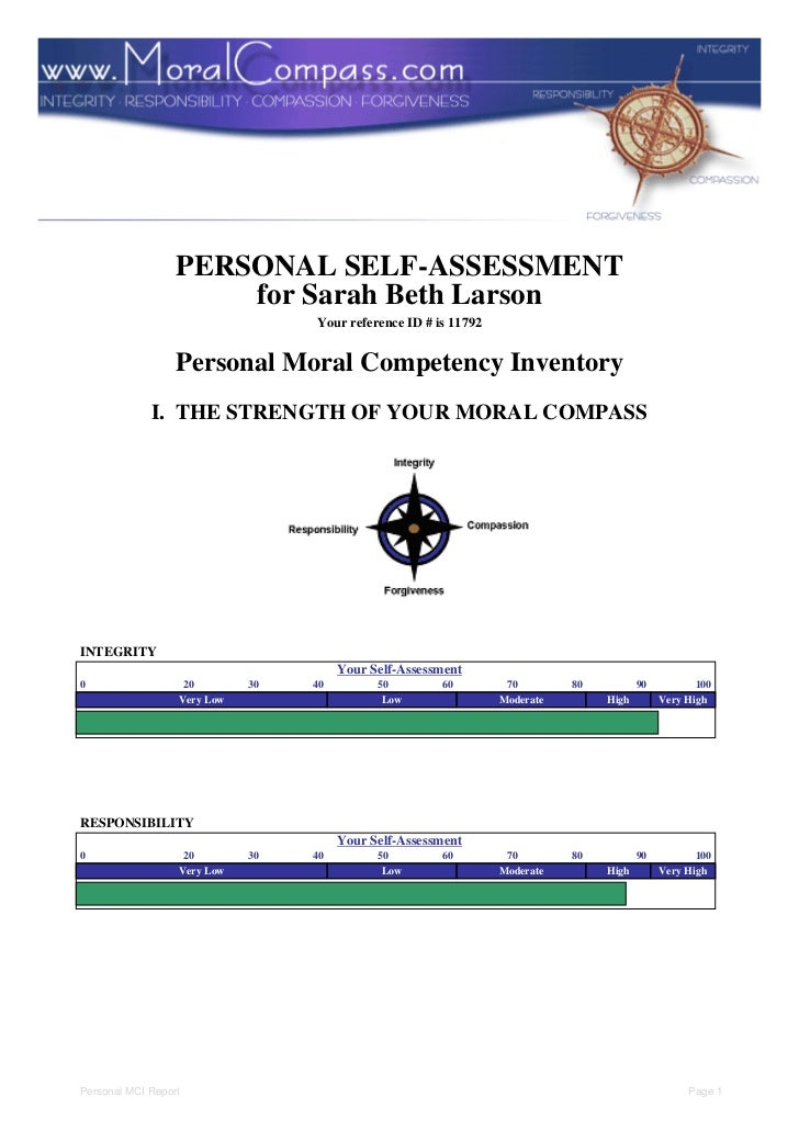 PERSONAL SELF-ASSESSMENT                      for Sarah Beth Larson                                  Your reference ID # i...