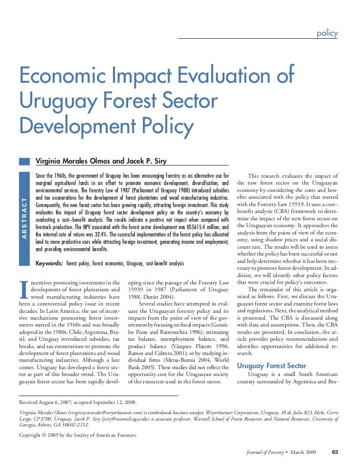 policyEconomic Impact Evaluation ofUruguay Forest SectorDevelopment Policy            Virginia Morales Olmos and Jacek P. ...