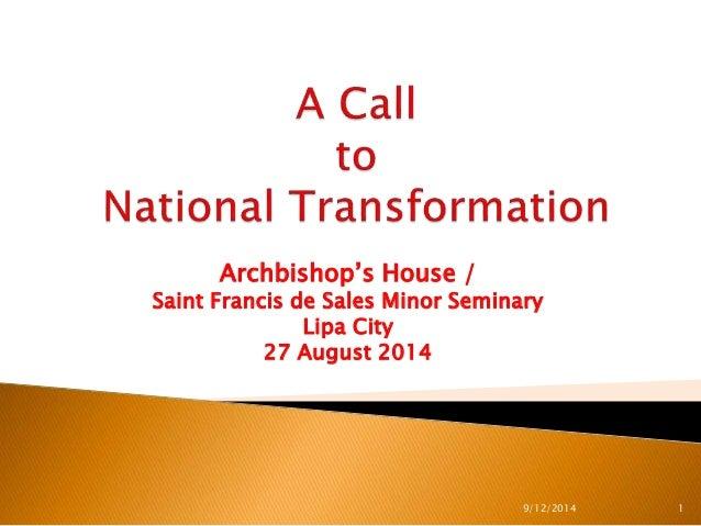Archbishop's House /  Saint Francis de Sales Minor Seminary  Lipa City  27 August 2014  9/12/2014 1