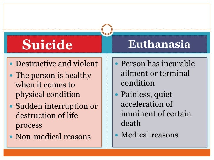 euthanasia a painless way to die Euthanasia, commonly called physician-assisted suicide,  what might seem like  a painless way to die, rather than dying after being in pain.