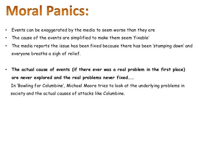 the definition and examples of moral panic The definition of moral panics, or if it is a new or hybrid form of panic, or if it   concerning episodes or trends that they portray as examples of.