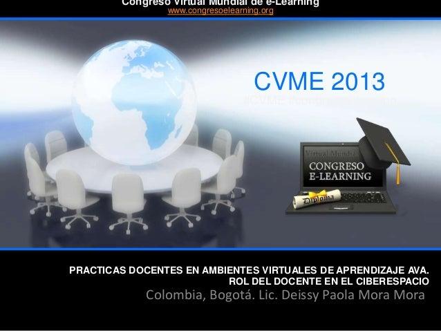 PRACTICAS DOCENTES EN AMBIENTES VIRTUALES DE APRENDIZAJE AVA. ROL DEL DOCENTE EN EL CIBERESPACIO Colombia, Bogotá. Lic. De...