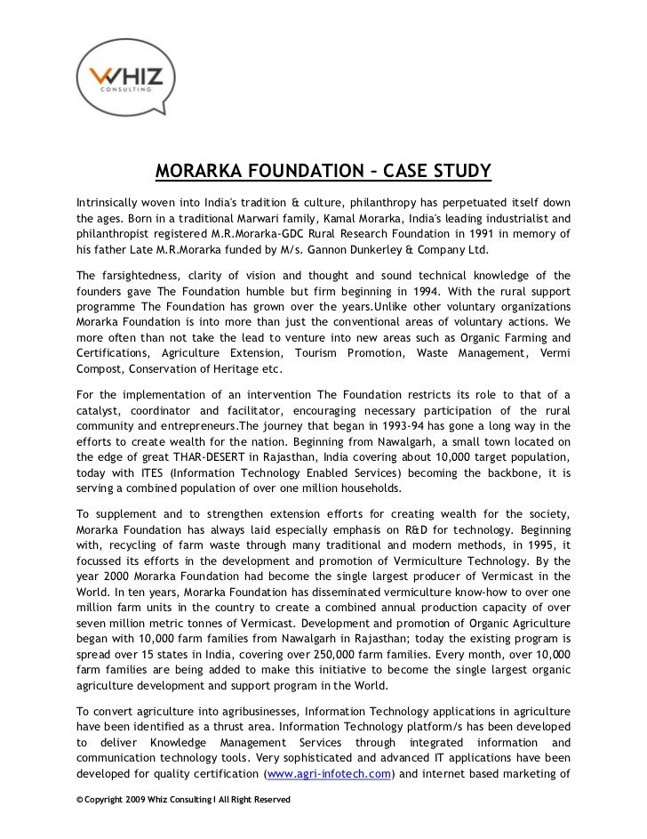MORARKA FOUNDATION – CASE STUDYIntrinsically woven into Indias tradition & culture, philanthropy has perpetuated itself do...