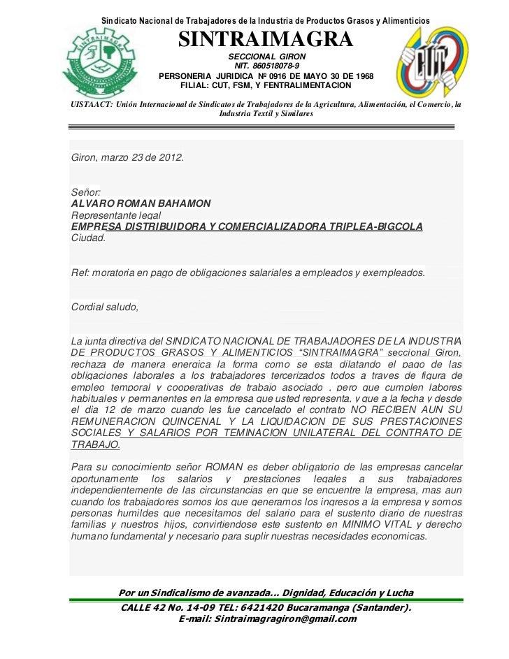 Sindicato Nacional de Trabajadores de la Industria de Productos Grasos y Alimenticios                             SINTRAIM...